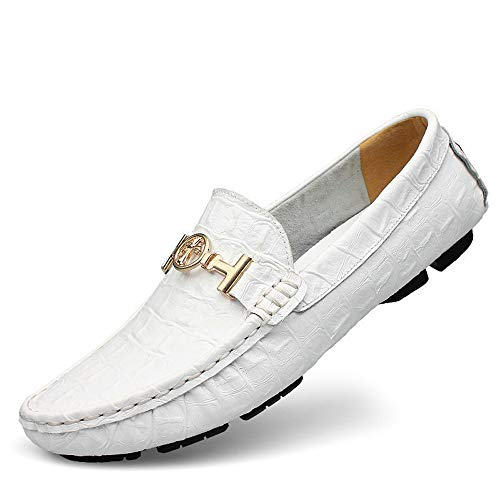 W Black Moccasin Shoes Casual amp;P Slip Autumn White Men's Loafers Ons Brown amp; Shoes Mens Cowhide rwqrTSfO