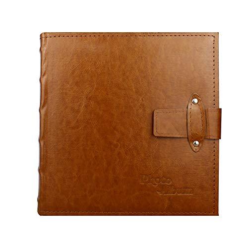 (Beautyus Photo Album Book, Family Album, Leather Cover with Lock Pocket Photo Album, 200 Photos Hold 4X6 Photos Horizontally, 2 Photos per Page (Brown, Deluxe-Medium))