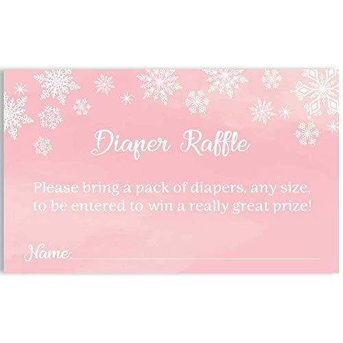 Winter Wonderland Diaper Raffle Tickets, Diaper Raffle, Diaper Inserts, Pink, Winter Wonderland, Baby Shower, Snowflakes, Diaper Card, Snowfall, White, Winter, 24 Printed Cards]()