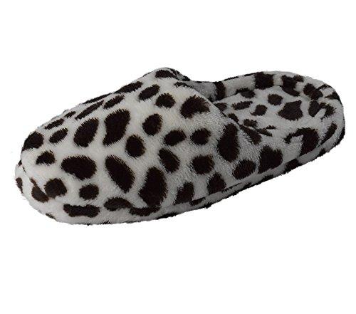 Pantofola Slenderella Donna Stampa Animalier Morbidissima Felpa Da Donna Slip On Mules Sm O Ml (vari Colori) Color Cioccolato