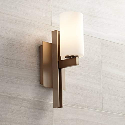 Ludlow Modern Wall Light Sconce Burnished Brass Hardwired 14