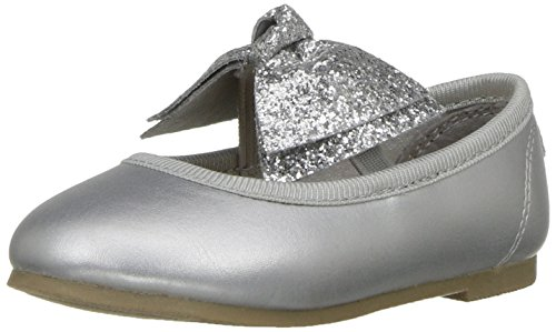 Carter's Anora Girl's Ballet Flat, Silver, 11 M US Little -