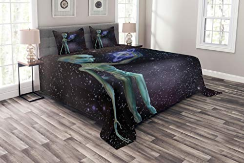 Lunarable Outer Space Coverlet Set Queen Size, Alien Body Planet in Milky Way Star Clusters Extraterrestrial Creature Image, Decorative Quilted 3 Piece Bedspread Set with 2 Pillow Shams, ()