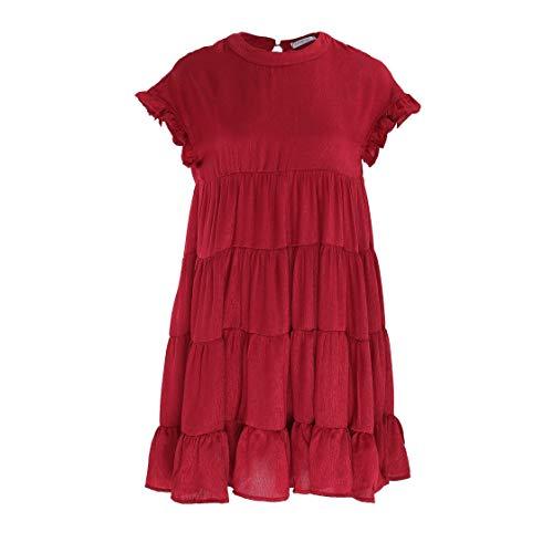 10a2ec66cc Joteisy Women's O Neck Ruffle Short Sleeve Tiered Casual Mini Dress