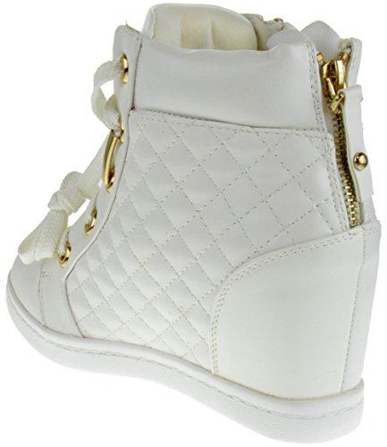 Alison 14 Mujeres Lace Up Acolchado Alto Cuña Zapatillas De Deporte Blanco