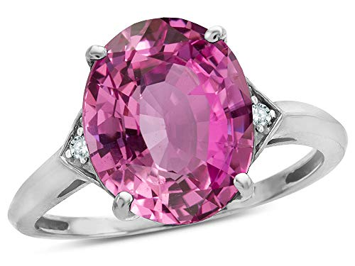 (Large Oval 12x10 Created Pink Sapphire 3 Stone Trillion Setting Ring 14 kt White Gold Size 6)