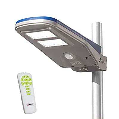 Wagan 2000 Lumens Outdoor LED Solar Street Light Waterproof Motion Detected Area Light with Remote Control, EL8589-9
