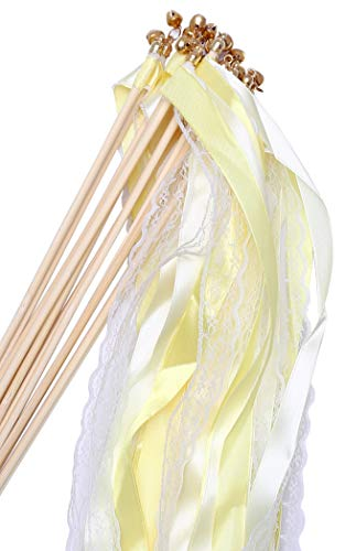 (Wishprom 30pcs Lace Ribbon Wands Christmas Birthday Party Streamers Wands Fairy Stick for Wedding Activities (Yellow+Lace))
