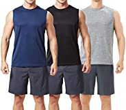 TEXFIT Men's 3-Pack Quick Dry Sleeveless Shirts, Workout Muscle Tank Tops (3pcs