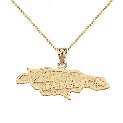 Jamaica Country Map Charm Pendant Necklace in 10k Yellow Gold, 22""