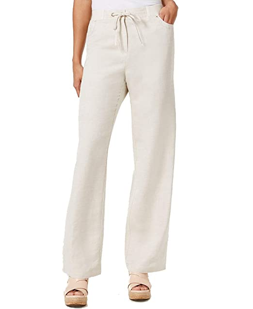 87225fdeb51 JM Collection Petite Linen-Blend Drawstring Pants (Flax