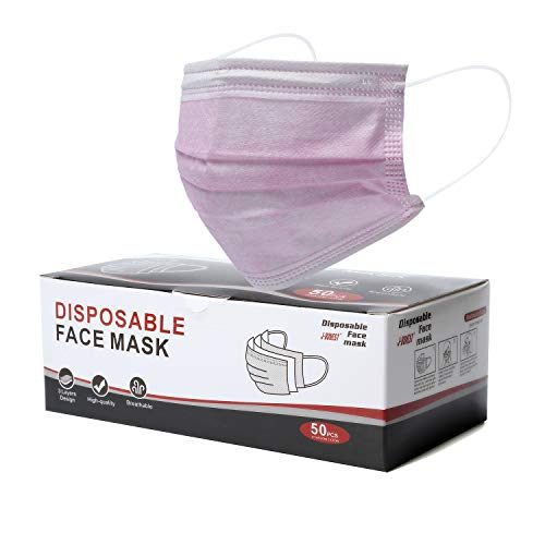 Disposable Mask 3-Layer Breathable Non-Woven Earloop Safety Face Masks Pink 50 Pack/Box