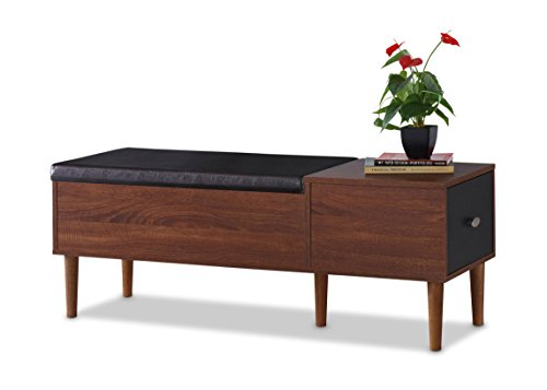 Baxton Furniture Studios Merrick Mid-Century Retro Modern 1 Drawer and Wood Cushioned Bench Shoe Rack Cabinet Organizer, Dark Brown by Baxton Furniture Studios