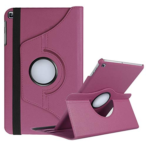 QUICATCH Compatible for Samsung Galaxy Tab A T510 T515 10.1 inch 2019 New Rotating Case Soft PC Leather Auto Sleep/Wake Cover (Purple)