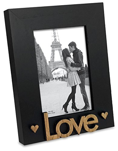 "(Isaac Jacobs Black Wood Sentiments ""Love"" Picture Frame, 4x6 inch, Photo Gift for Loved Ones, Family, Display on Tabletop, Desk)"