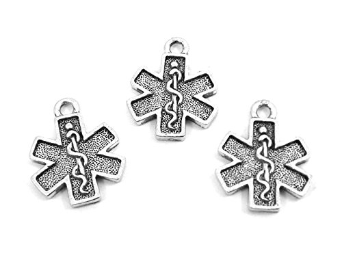 Pewter Cross Charms (Set of Three (3) Pewter EMT Cross Charms)