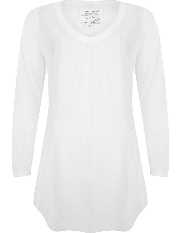 Rebelle 1171-271-2-100 Women's White Cotton Beach Dress