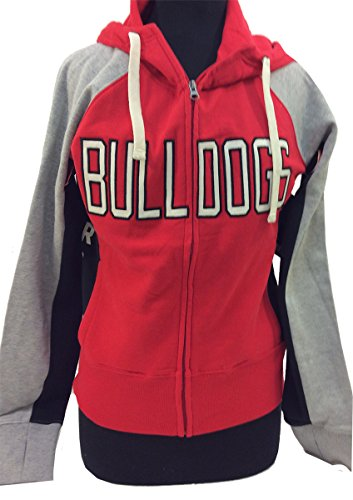 Embroidered Zip Hoodie (Hands High Womens Georgia Bulldogs Bold Logo Embroidered Full-Zip Hooded Sweatshirt-XL)