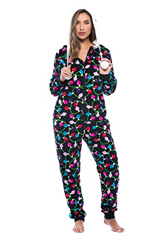 6342-10122-M Just Love Adult Onesie / Pajamas,Medium,Black - Light Up