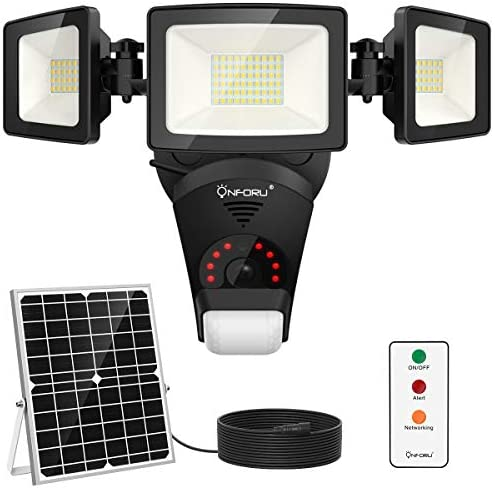 Onforu Solar Security Light with Camera, Motion Sensor Outdoor LED Floodlight, WiFi 1080P Home Security Camera with Siren Alarm, Night Vision, Waterproof Flood Light with Remote, 16GB TF Card