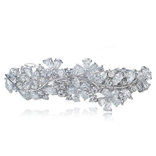 VenFashion F77 Holy White Clear Rhinestone Crystal Cubic-Zirconia Flower Silver Tone Barrette Hair Clip Wedding Bridal Party Prom ()