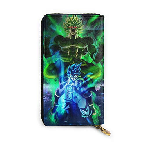 Character Unisex Rectangle Cowhide Leather Wallets With Dragon Ball Broly&Gogeta