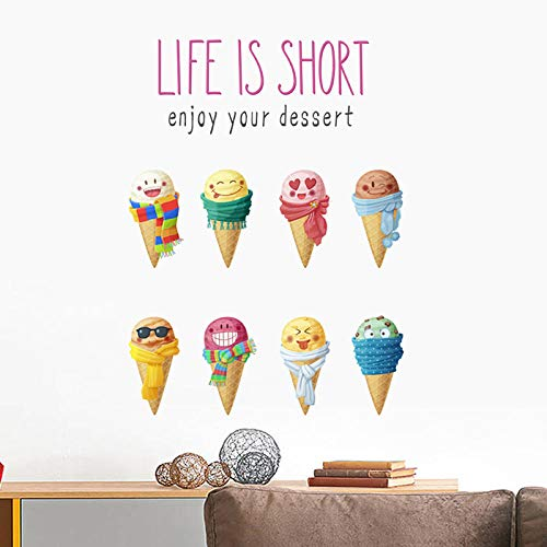 - 3D Wall Sticker Colorful Summer Ice Cream for Kids Rooms Kitchen Children Bedroom Food Shop Decor Mural Art PVC Poster Zyyanaes