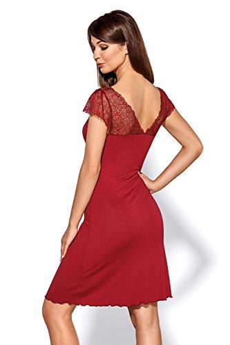 Blickdicht Burgund Hamana Frauen Abend Knielang Burgund Dehnbar mit Kleid Zartes Kleid Damen Spitze in AqqwptZ8