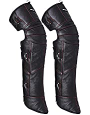 Winter Thicken Plush Leather Knee Pads for Unisex Women Men,Waterproof Keep Warm and Windproof Cozy Leg Leg Gaiter Protector,Outdoor Cycling Motorcycle Biking,Adjustable Sling