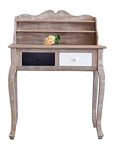Escritorio cl sico mesa de madera vintage 2 cajones for Mesas de escritorio amazon