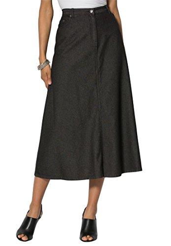 Roamans Women's Plus Size Perfect Denim A-Line Skirt Black Denim,14 (Khaki A-line Skirt)