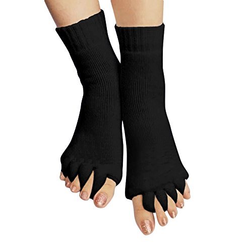 Dixperfect Yoga GYM Barre Pilates Athletic Toeless Massager Socks Instant Relief for Painful Feet