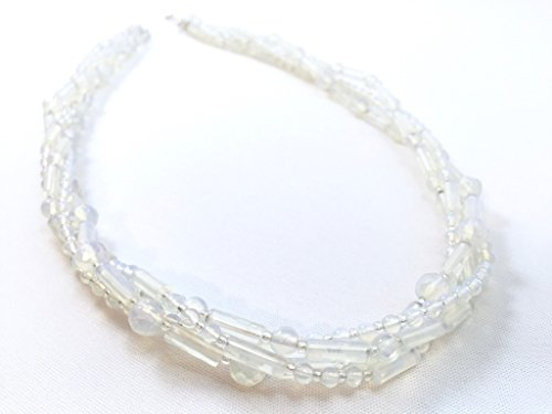 Opalite Beaded Three Strand Torsade Necklace in Sterling Silver