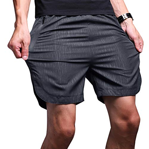 LTIFONE Mens Gym Quick Dry Shorts Workout Training Running Vertical Stripe Shorts with Zipper Pocket (Dark Grey,S)