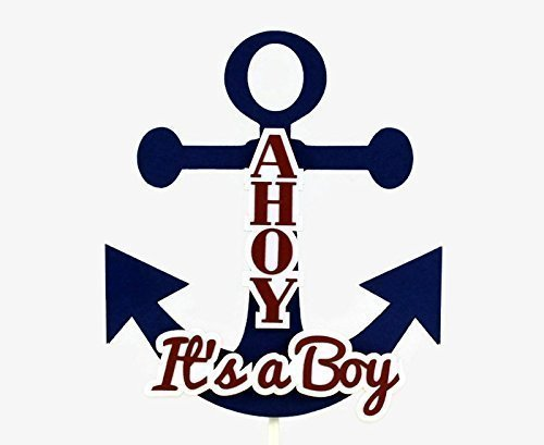 Ahoy It's a Boy Nautical Anchor Baby Shower Cake Topper ()