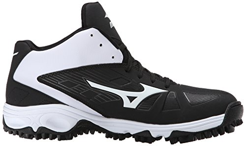Mizuno Men's 9 Spike ADV Erupt 3 Multi-Sport Mid-Cut Softball Cleat Black/White 97vG9JV03