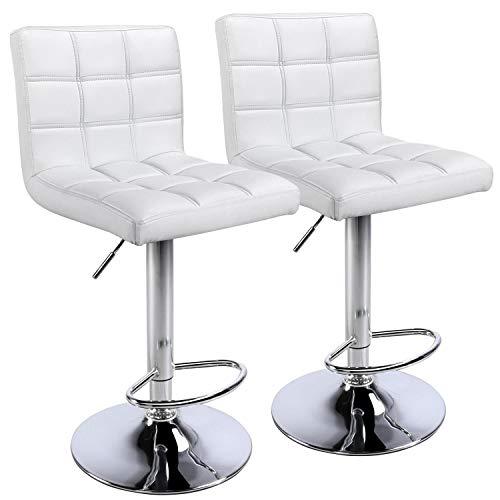 quare PU Leather Adjustable Bar Stools Back Counter Height Swivel Stool Swivel Armless White ()
