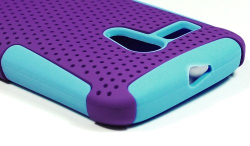 Bastex Heavy Duty Hybrid Mesh Case For Motorola Moto G XT1032 -Sky Blue Silicone / Purple Hard Shell
