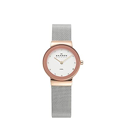 Skagen Women's Ancher Quartz Two-Tone Stainless Steel Mesh Casual Watch, Color: Rose Gold and Silver-Tone (Model: 358SRSC) from Skagen