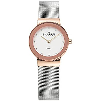 Skagen Womens Freja Quartz Two-Tone Stainless Steel Mesh Casual Watch, Color: Rose Gold and Silver-Tone (Model: 358SRSC)