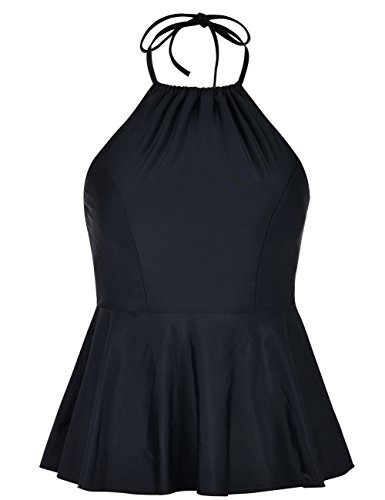 - Hilor Women's High Neck Swimwear Halter Swimsuit Ruffle Hemline Tankinis Tops Black 18