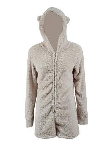 Missfamo Ladies Cute Long Sleeve Sleepwear Fleece Hooded Cozy Sherpa Romper Fluffy Pajamas Short One Piece Jumpsuit (S, Khaki)
