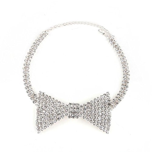Fashion Sexy Rhinestone Bow Tie Necktie Shape Necklace Shiny Collar Choker Wedding Necklace