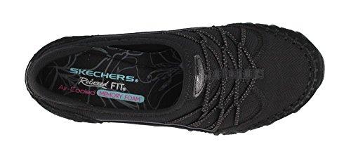 Skechers Damesfietsers Cijfers-dubbele Bungee-sluiting Slip-on-relaxed Fit Sneaker Zwart