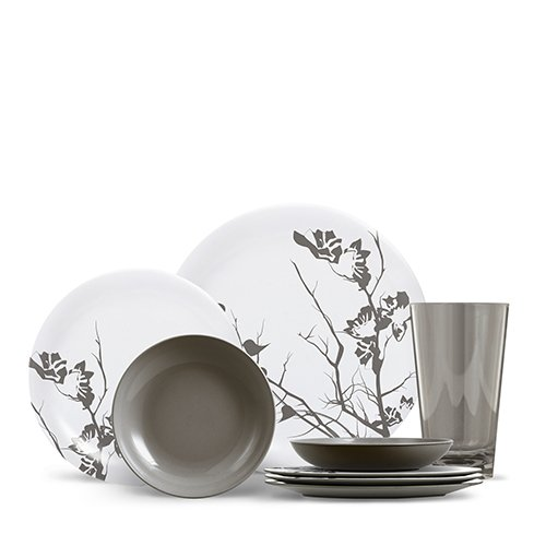 ThermoServ Everyday Collection - Cora, Dogwood Floral, 16 Piece Melamine Dinnerware Set (Service for (12 Ounce Melamine Bowl)