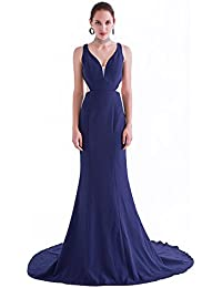 France CG Women's Vintage Split V-Neck Evening Party Dresses Sleeveless Elegant Mermaid Maxi Dress J-0767