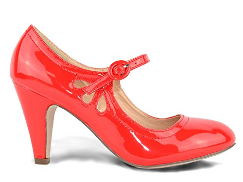 Chase & Chloe Kimmy-21 Women's Round Toe Pierced Mid Heel Mary Jane Style Dress Pumps (7.5, Red Patent)