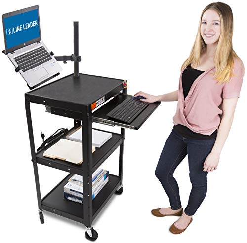 Line Leader AV Cart with Keyboard Tray and Laptop Stand | Mobile Workstation with Laptop Mount | Take Your Office On-The-Go with Our Stand Up Computer Cart! (Black / 24