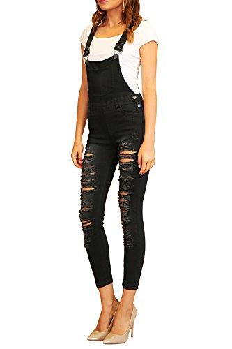 TwiinSisters Women's Distressed Stretch Twill Overalls Size Small to 3X Multi Styles (Small, Denim Black #Rjho837) (Black Jeans Twill)
