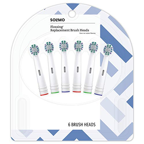 Amazon Brand - Solimo Flossing Replacement Brush Heads, 6 Count (Fits Most Oral-B Electric Toothbrushes) by Solimo